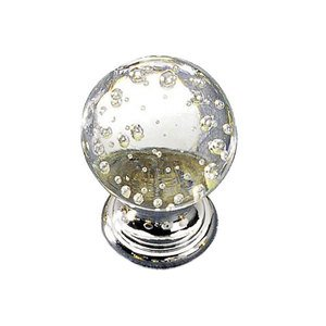 "Richelieu Hardware Solid Brass 1"" Diameter Bubble Knob in Chrome and Bubble Glass"