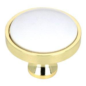 "Richelieu Hardware Solid Brass 1 1/4"" Diameter Knob with Ceramic Insert in Brass and White"