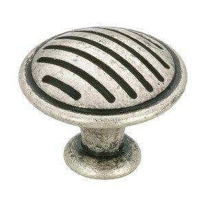 "Richelieu Hardware 1 1/8"" Diameter Linear Knob in Old Silver"