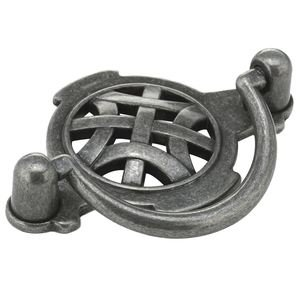 "Richelieu Hardware 2 1/2"" Centers Bail Pull with Celtic Backplate in Wrought Iron"