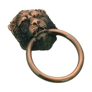 "Richelieu Hardware 1 1/2"" Diameter Lion Face Ring Pull in Old Copper"