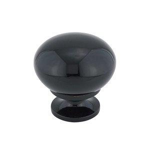 "Richelieu Hardware Hollow Brass 1 1/4"" Diameter Round Knob with Small Base in Black"
