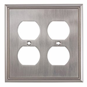 Richelieu Hardware Contemporary Double Duplex Outlet in Brushed Nickel