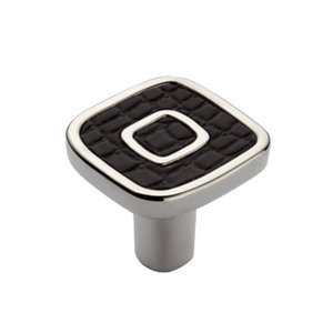 """Richelieu Hardware 1 3/16"""" Long Contemporary and Leather Knob in Polished Nickel with Chocolate"""