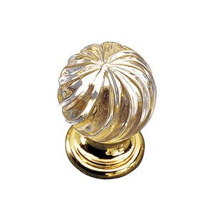 """Richelieu Hardware 1 3/16"""" Round Traditional Crystal and Brass Knob in Polished Brass With Clear"""