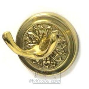 RK International Hardware Bath Accessories - Flower Design Double Hook in Polished Brass
