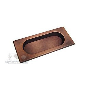 RK International Thick Rectangle Flush Pull in Distressed Copper