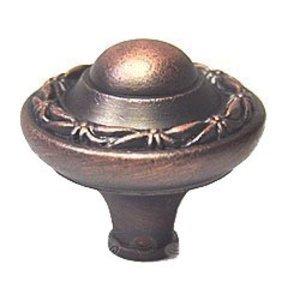 RK International Small Deco Leaf Edge Knob in Distressed Copper
