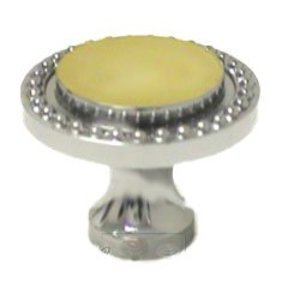 "RK International 1 1/4"" Polished Chrome with Brass Beaded Knob"
