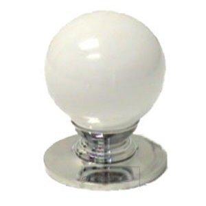 "RK International 1 1/4"" White Porcelain Knob with Chrome Base"