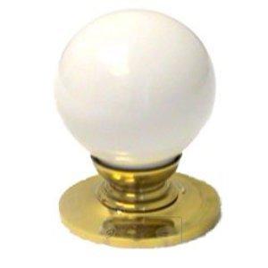"RK International 1 1/4"" White Porcelain Knob with Brass Base"