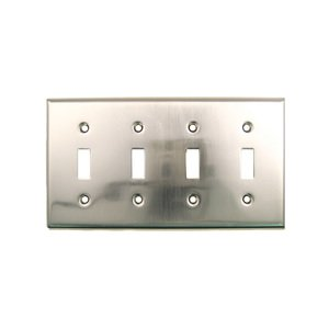 Rusticware Hardware Quadruple Toggle Switchplate in Satin Nickel