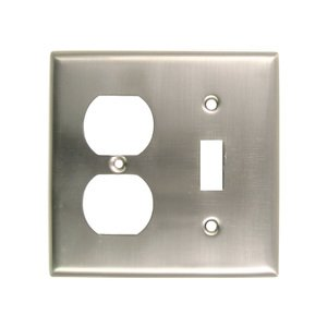 Rusticware Hardware Single Duplex Single Toggle Combination Switchplate in Satin Nickel