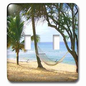 Jazzy Wallplates Double Toggle Wallplate With Tropical Beach Hammock.