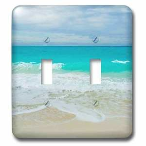 Jazzy Wallplates Double Toggle Wallplate With Bahamas Surf And Beach.