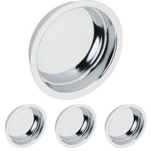 Schlage Door Hardware Solid Brass Recessed Finger Pull (Sold in a 4 Pack) in Bright Chrome