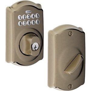 Schlage Door Hardware BE365 Series - Camelot Keypad Electronic Deadbolt in Antique Pewter