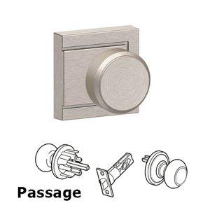 Schlage Door Hardware F Series - Bowery With Upland Rose Passage Door Knob in Satin Nickel