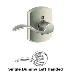 Schlage Door Hardware F Series - Accent With Greenwich Rose Single Dummy Left Handed Door Lever in Satin Nickel