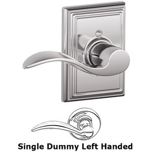 Schlage - F170 Series - Left Handed Single Dummy Accent Door Lever with Addison Rose in Bright Chrome