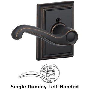 Schlage Door Hardware F170 Series - Left Handed Single Dummy Flair Door Lever with Addison Rose in Aged Bronze