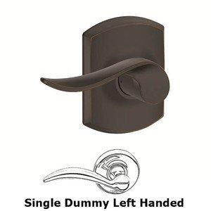 Schlage Door Hardware F Series - Sacramento With Greenwich Single Dummy Left Handed Door Lever in Aged Bronze