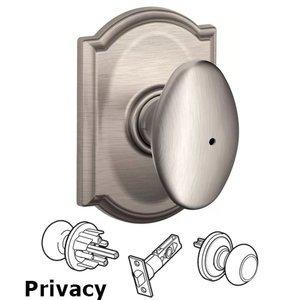 Schlage Door Hardware F Series - Siena With Camelot Rose Privacy Door Knob in Satin Nickel