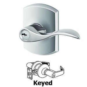 Schlage Door Hardware F Series - Accent With Greenwich Rose Keyed Door Lever in Bright Chrome
