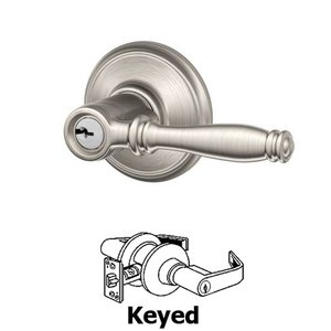 Schlage - F Series - Birmingham Keyed Door Lever in Satin Nickel