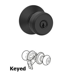Schlage - F Series - Bowery Keyed Door Knob in Matte Black