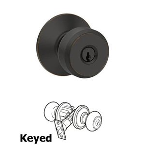 Schlage - F Series - Bowery Keyed Door Knob in Aged Bronze