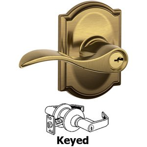 Schlage Door Hardware F51A Series - Keyed Accent Door Lever with Camelot Rose in Antique Brass