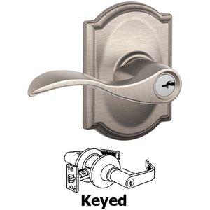 Schlage Door Hardware F51A Series - Keyed Accent Door Lever with Camelot Rose in Satin Nickel