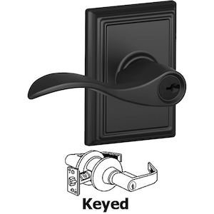 Schlage Door Hardware F51A Series - Keyed Accent Door Lever with Addison Rose in Matte Black