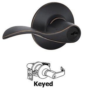 Schlage Door Hardware F51A Series - Keyed Accent Door Lever in Aged Bronze