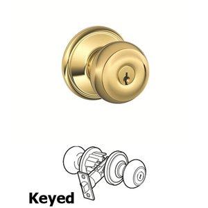 Schlage   F Series   Georgian Keyed Door Knob In Lifetime Brass