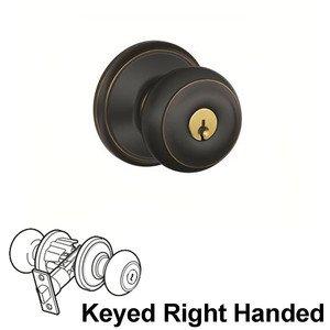 Schlage Door Hardware F Series - Georgian Champagne Keyed Right Handed Door Lever in Aged Bronze