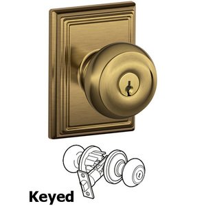 Schlage - F51A Series - Keyed Georgian Door Knob with Addison Rose in Antique Brass