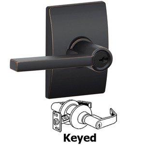 Schlage Door Hardware F51A Series - Keyed Latitude Door Lever with Century Rose in Aged Bronze