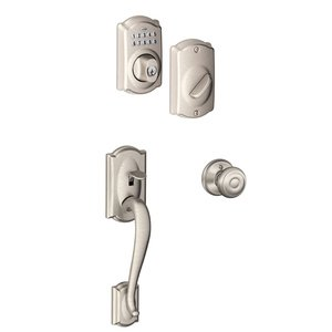 Schlage Door Hardware Camelot Exterior with Avila Lever Interior with BE365 Camelot Keypad Electronic Deadbolt in Satin Nickel