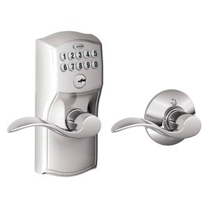 Schlage - FE575 Series - Camelot Plate with Accent Lever Keypad Entry Electric Auto-Lock in Bright Chrome