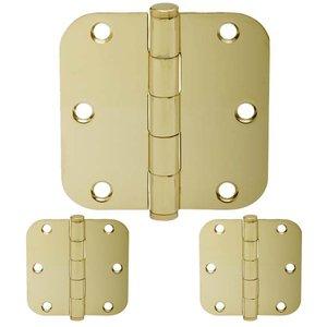 "Schlage Door Hardware 3 1/2"" 5/8"" Round Door Hinge (Sold in a 3 Pack) in Bright Brass"