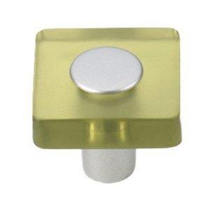 Siro Designs 30mm Square Knob in Olive Green/Matte Aluminum