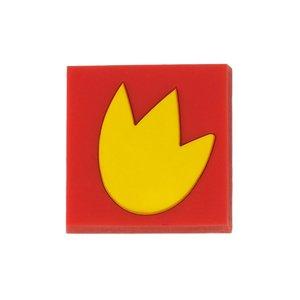 Siro Designs 44mm Rubber Flex Square Knob in Red/Yellow Tulip