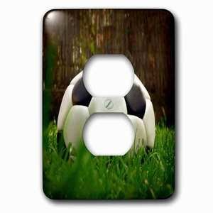 Jazzy Wallplates Single Duplex Outlet With Black Soccer Ball