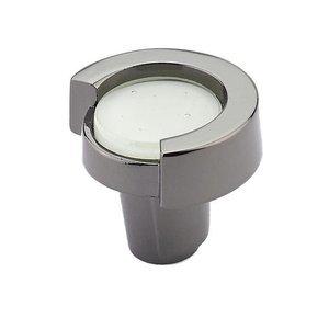 "Schaub and Company 1 1/4"" Round Knob in Black Nickel with Lemon Ice Glass Inlay"