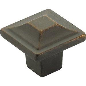 """Schaub and Company 1 1/4"""" Square Knob in Ancient Bronze"""
