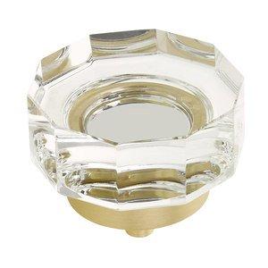 "Schaub and Company 1 3/4"" Diameter Large Multi-Sided Glass Knob in Satin Brass"