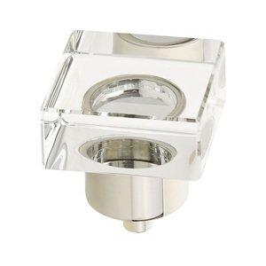 "Schaub and Company 1 1/4"" Square Glass Knob in Polished Nickel"
