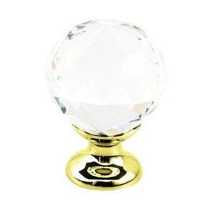 "Schaub and Company 1 1/8"" Round Knobin Polished Brass with Clear Crystal"
